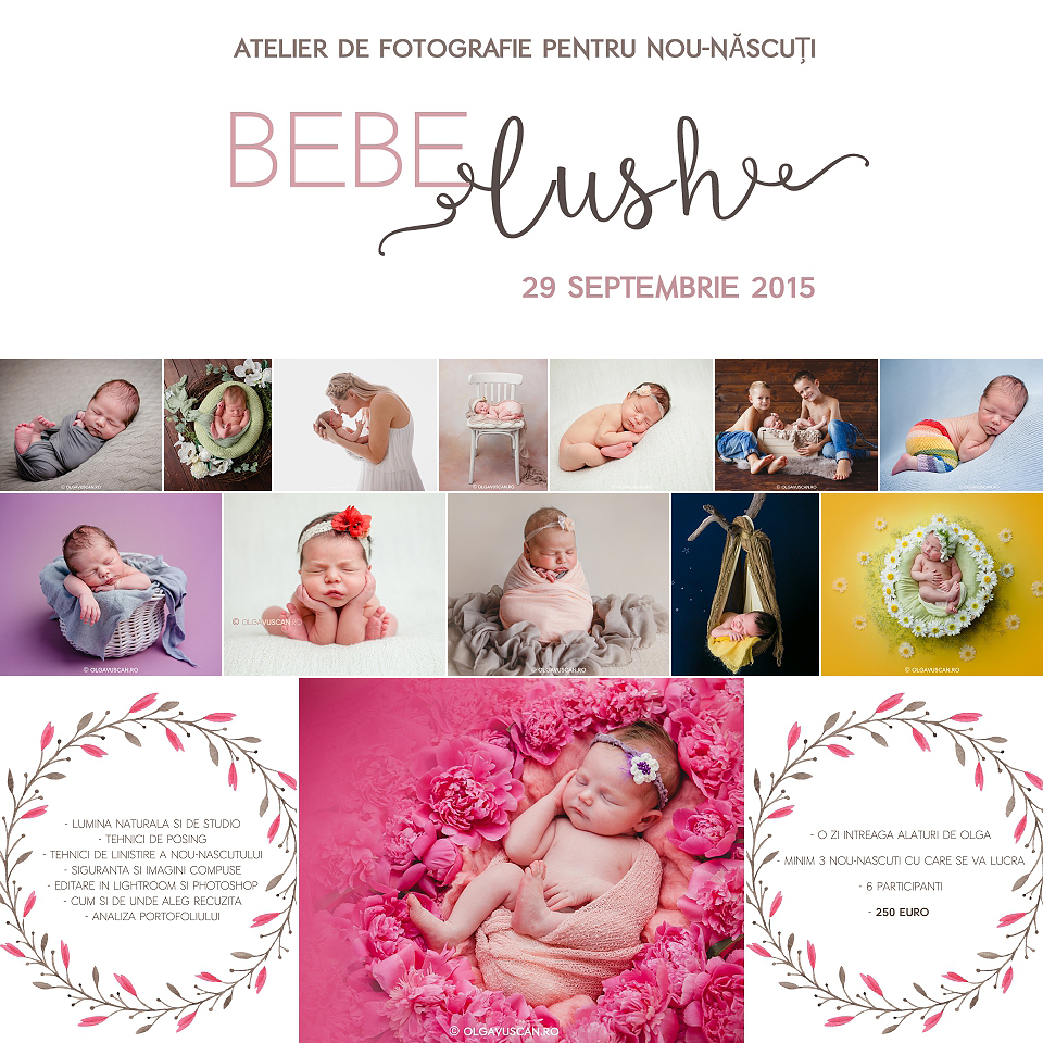 workshop newborn, atelier fotografie nou-nascuti, pret workshop newborn, fotograf nou-nascuti Olga Vuscan